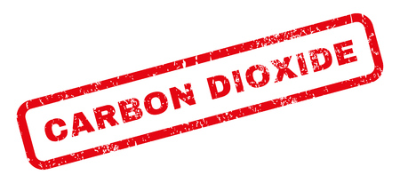 Carbon Dioxide text rubber seal stamp watermark. Caption inside rectangular banner with grunge design and dirty texture. Slanted vector red ink emblem on a white background.