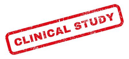 Clinical Study text rubber seal stamp watermark. Caption inside rectangular banner with grunge design and unclean texture. Slanted vector red ink sticker on a white background.