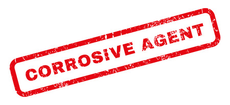corrosive: Corrosive Agent text rubber seal stamp watermark. Tag inside rectangular banner with grunge design and dust texture. Slanted vector red ink sticker on a white background. Illustration