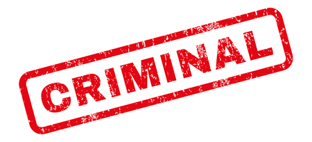 Criminal text rubber seal stamp watermark. Caption inside rectangular banner with grunge design and scratched texture. Slanted vector red ink sign on a white background.