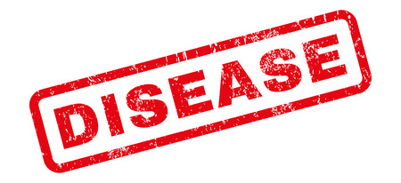 Disease text rubber seal stamp watermark. Tag inside rectangular shape with grunge design and dirty texture. Slanted vector red ink sign on a white background. Illustration