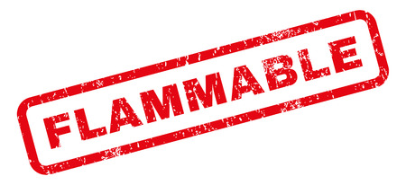 flammable: Flammable text rubber seal stamp watermark. Caption inside rectangular banner with grunge design and unclean texture. Slanted vector red ink sign on a white background.