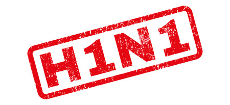 h1n1: H1N1 text rubber seal stamp watermark. Tag inside rectangular shape with grunge design and unclean texture. Slanted vector red ink sign on a white background.