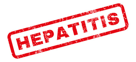 hepatitis: Hepatitis text rubber seal stamp watermark. Caption inside rectangular banner with grunge design and unclean texture. Slanted vector red ink sticker on a white background.