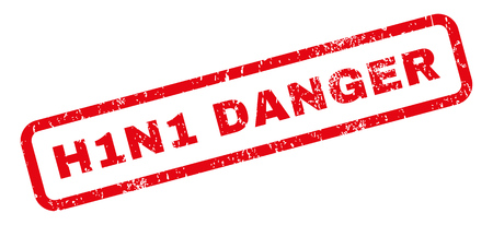 h1n1: H1N1 Danger text rubber seal stamp watermark. Caption inside rectangular banner with grunge design and dirty texture. Slanted vector red ink sticker on a white background. Illustration