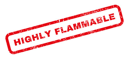 highly flammable: Highly Flammable text rubber seal stamp watermark. Caption inside rectangular banner with grunge design and dirty texture. Slanted vector red ink emblem on a white background.