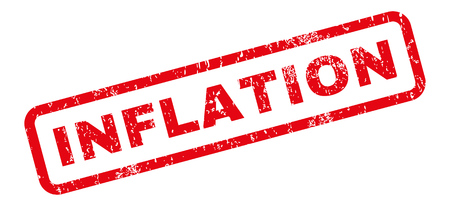 Inflation text rubber seal stamp watermark. Caption inside rectangular shape with grunge design and dirty texture. Slanted vector red ink sticker on a white background. Illustration