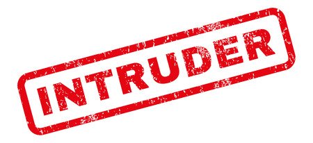 intrude: Intruder text rubber seal stamp watermark. Caption inside rectangular banner with grunge design and dust texture. Slanted vector red ink sign on a white background.