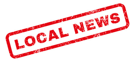 Local News text rubber seal stamp watermark. Tag inside rectangular shape with grunge design and scratched texture. Slanted vector red ink sticker on a white background.
