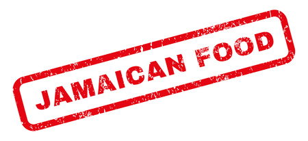 jamaican: Jamaican Food text rubber seal stamp watermark. Tag inside rectangular shape with grunge design and dirty texture. Slanted vector red ink sign on a white background. Illustration