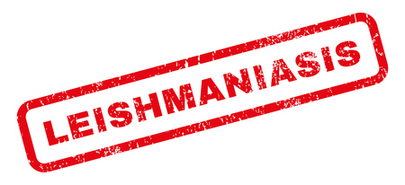 protozoa: Leishmaniasis text rubber seal stamp watermark. Tag inside rectangular banner with grunge design and unclean texture. Slanted vector red ink sticker on a white background. Illustration