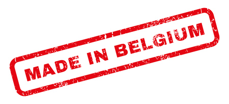 Made In Belgium text rubber seal stamp watermark. Caption inside rectangular banner with grunge design and dirty texture. Slanted vector red ink sticker on a white background.