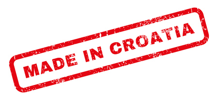 Made In Croatia text rubber seal stamp watermark. Caption inside rectangular shape with grunge design and scratched texture. Slanted vector red ink sticker on a white background.