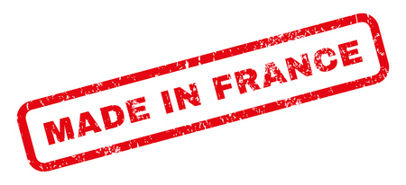 Made In France text rubber seal stamp watermark. Caption inside rectangular shape with grunge design and dust texture. Slanted vector red ink sticker on a white background. Illustration