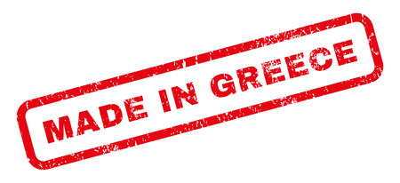 made in greece stamp: Made In Greece text rubber seal stamp watermark. Caption inside rectangular banner with grunge design and unclean texture. Slanted vector red ink sticker on a white background. Illustration