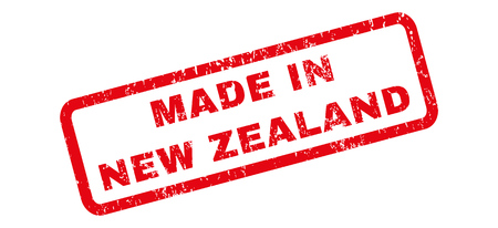 Made In New Zealand text rubber seal stamp watermark. Tag inside rectangular shape with grunge design and unclean texture. Slanted vector red ink sign on a white background.