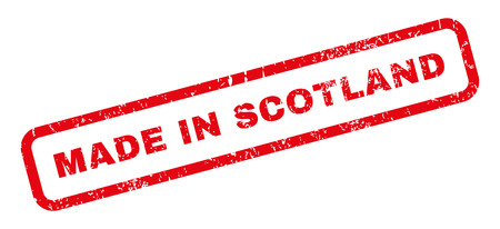 Made In Scotland text rubber seal stamp watermark. Caption inside rectangular shape with grunge design and scratched texture. Slanted vector red ink sticker on a white background.