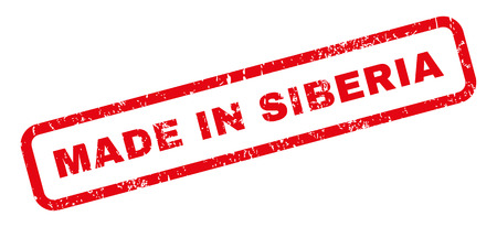 Made In Siberia text rubber seal stamp watermark. Caption inside rectangular banner with grunge design and scratched texture. Slanted vector red ink sign on a white background.