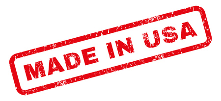 Made In USA text rubber seal stamp watermark. Caption inside rectangular banner with grunge design and dust texture. Slanted vector red ink emblem on a white background. Illustration