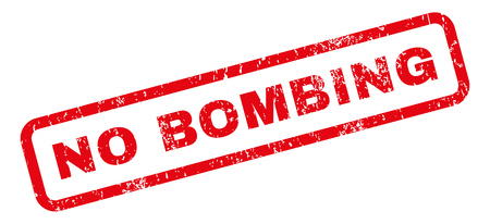 bombing: No Bombing text rubber seal stamp watermark. Caption inside rectangular banner with grunge design and scratched texture. Slanted vector red ink emblem on a white background.