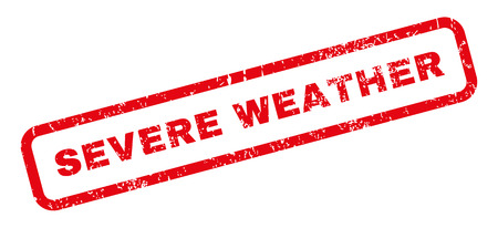 severe weather: Severe Weather text rubber seal stamp watermark. Caption inside rectangular banner with grunge design and scratched texture. Slanted vector red ink sign on a white background. Illustration