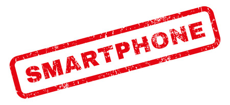 Smartphone text rubber seal stamp watermark. Caption inside rectangular banner with grunge design and scratched texture. Slanted vector red ink sticker on a white background.