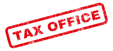 tax office: Tax Office text rubber seal stamp watermark. Tag inside rectangular banner with grunge design and scratched texture. Slanted vector red ink sign on a white background.