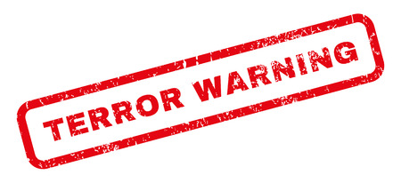 Terror Warning text rubber seal stamp watermark. Caption inside rectangular banner with grunge design and dirty texture. Slanted vector red ink sticker on a white background.