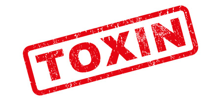 Toxin text rubber seal stamp watermark. Caption inside rectangular banner with grunge design and unclean texture. Slanted vector red ink emblem on a white background.