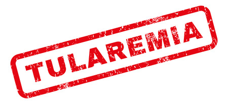 outbreak: Tularemia text rubber seal stamp watermark. Caption inside rectangular banner with grunge design and dust texture. Slanted vector red ink sticker on a white background.