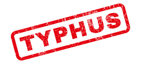 Typhus text rubber seal stamp watermark. Tag inside rectangular shape with grunge design and dirty texture. Slanted vector red ink sign on a white background.