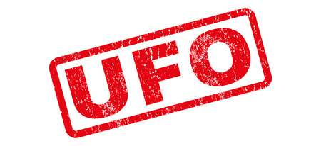 UFO text rubber seal stamp watermark. Caption inside rectangular banner with grunge design and unclean texture. Slanted vector red ink sticker on a white background.
