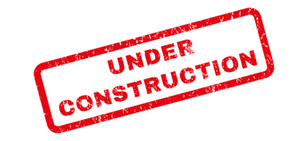 Under Construction text rubber seal stamp watermark. Tag inside rectangular banner with grunge design and unclean texture. Slanted vector red ink sticker on a white background.