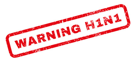 h1n1: Warning H1N1 text rubber seal stamp watermark. Caption inside rectangular shape with grunge design and dust texture. Slanted vector red ink sticker on a white background.