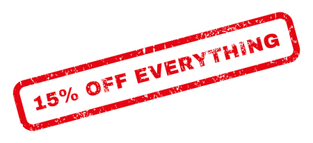 15: 15 Percent Off Everything text rubber seal stamp watermark. Tag inside rectangular banner with grunge design and dust texture. Slanted glyph red ink sign on a white background. Stock Photo