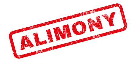 alimony: Alimony text rubber seal stamp watermark. Tag inside rectangular banner with grunge design and unclean texture. Slanted glyph red ink emblem on a white background.