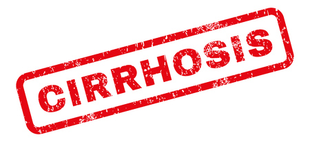 fibrosis: Cirrhosis text rubber seal stamp watermark. Tag inside rectangular banner with grunge design and scratched texture. Slanted glyph red ink sign on a white background.