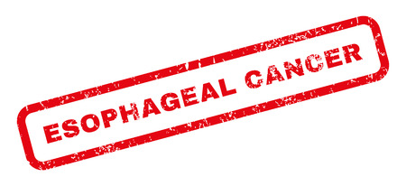 esophageal: Esophageal Cancer text rubber seal stamp watermark. Tag inside rectangular banner with grunge design and dirty texture. Slanted glyph red ink sticker on a white background. Stock Photo