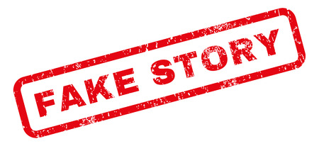 Fake Story text rubber seal stamp watermark. Caption inside rectangular shape with grunge design and dirty texture. Slanted glyph red ink sticker on a white background.