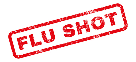 flu shot: Flu Shot text rubber seal stamp watermark. Tag inside rectangular banner with grunge design and unclean texture. Slanted glyph red ink sticker on a white background.