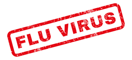 flu virus: Flu Virus text rubber seal stamp watermark. Caption inside rectangular shape with grunge design and scratched texture. Slanted glyph red ink sign on a white background.