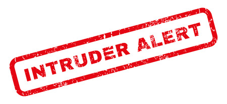 intruder: Intruder Alert text rubber seal stamp watermark. Caption inside rectangular banner with grunge design and dust texture. Slanted glyph red ink sticker on a white background. Stock Photo