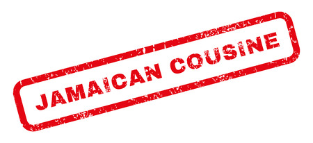 jamaican: Jamaican Cousine text rubber seal stamp watermark. Caption inside rectangular shape with grunge design and scratched texture. Slanted glyph red ink emblem on a white background.