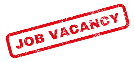 job vacancy: Job Vacancy text rubber seal stamp watermark. Caption inside rectangular banner with grunge design and scratched texture. Slanted glyph red ink sticker on a white background. Stock Photo