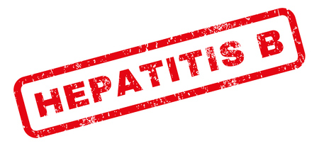 hepatitis: Hepatitis B text rubber seal stamp watermark. Tag inside rectangular banner with grunge design and dirty texture. Slanted glyph red ink emblem on a white background.