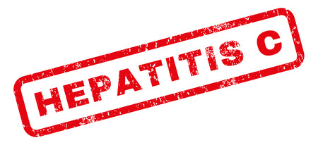 hepatitis prevention: Hepatitis C text rubber seal stamp watermark. Tag inside rectangular banner with grunge design and dust texture. Slanted glyph red ink sticker on a white background.