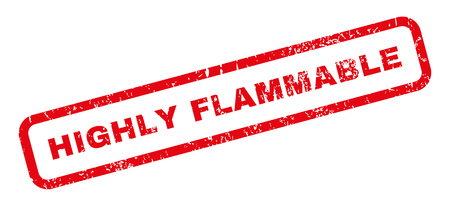 highly: Highly Flammable text rubber seal stamp watermark. Tag inside rectangular shape with grunge design and dirty texture. Slanted glyph red ink sign on a white background.