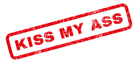 jackass: Kiss My Ass text rubber seal stamp watermark. Caption inside rectangular shape with grunge design and dust texture. Slanted glyph red ink emblem on a white background.