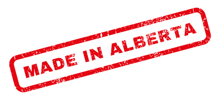 alberta: Made In Alberta text rubber seal stamp watermark. Tag inside rectangular banner with grunge design and scratched texture. Slanted glyph red ink sign on a white background.