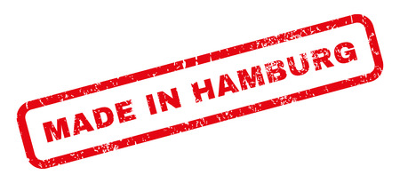 made in germany: Made In Hamburg text rubber seal stamp watermark. Tag inside rectangular banner with grunge design and dust texture. Slanted glyph red ink sticker on a white background.